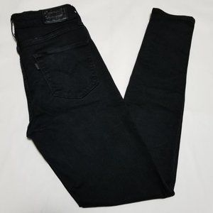Levi's Black Wash 721 High Rise Skinny Jeans